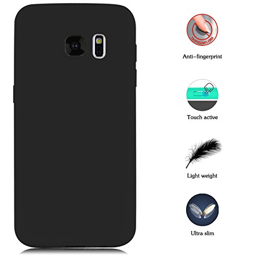 Case for Samsung Galaxy S7, Yokata Ultra Thin Slim Lightweight Matte Soft Silicone Gel TPU Cover Trendy Candy Colour Back Bumper Rubber Shockproof Non-slip Protective Case for Samsung Galaxy S7 - Black