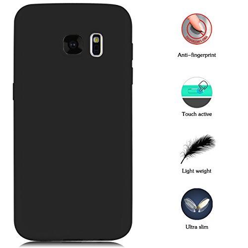 Case for Samsung Galaxy S7, Yokata Ultra Thin Slim Lightweight Matte Soft Silicone Gel TPU Cover Trendy Candy Colour Back Bumper Rubber Shockproof Non-slip Protective Case for Samsung Galaxy S7 - Black
