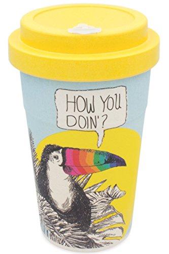holi. Woodcup Kaffeebecher mit Schraubdeckel, Trinkloch-Verschluss | Bambusbecher Mehrweg-Becher | Coffee-To-Go, Bamboo-Cup | lebensmittelecht, recyclebar (Flirty Tucan)