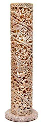 Artist Haat Weihrauch & Kerzenhalter Hand mit Speckstein geschnitzt zylindrisch geformt Blumen und Reben Jali Arbeit (Beige, 8 * 8 * 27 cm Ca.). (Blume Weihrauch)