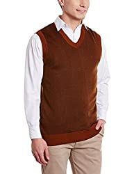 Indian Terrain Mens Synthetic Sweater (8907190512813_ITA15SWC280_Caramel Melange_Medium_Sleeveless)