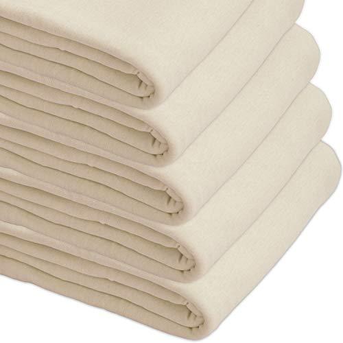 Nurtextil24 Sofaüberwurf Elastisch Baumwolle Bettüberwurf (viele Variante verfügbar) Couch Überwurf Creme 210 x 250 cm (Sofa Schonbezug Creme)