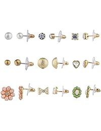 LUX accesorios surtidos varios conjuntos de pendiente de botón, 9par de la niña de la mujer Multi Pack