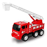 Zmoon Fire Engine Truck Toy, Inertial Fire Truck Car Rescue Vehicle with Extending Ladder Gift for Kids Boys Girls Toddlers