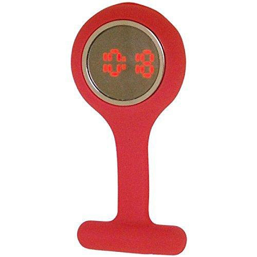 Boxx digitale LED Pulsmessuhr Krankenschwester Broschenuhr indisch rot