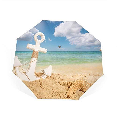 Qialia Travel Umbrella Windproof Compact Sea Sand Anchor Starfish Rock Sky Clouds Umbrella Automatic Open Close Folding Golf Umbrellas -