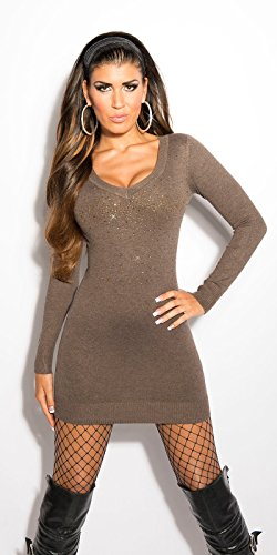 Koucla robe courte sexy en tricot avec strass koucla by in-stylefashion sKU 0000ISF8004 Marron - Cappuccino