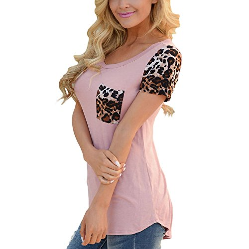 PU&PU Frauen Casual / Daily Fashion T-Shirt Rundhals Kurzarm Leopard Pathchwork Top Pink