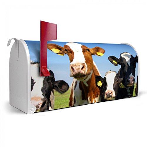 BANJADO US Mailbox | Amerikanischer Briefkasten 51x22x17cm | Letterbox Stahl weiß | mit Motiv Kühe, Briefkasten:ohne Standfuß