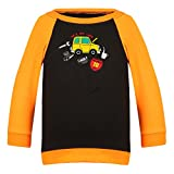Clifton Baby Boys Raglan Printed Full Sleeve T-shirts -Black-Bright Orange -Caaro-12-18 Months