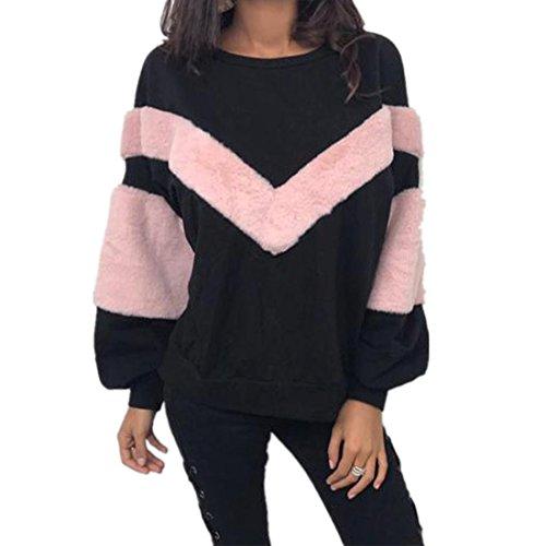 Kolylong® Sweatshirt Damen Frauen Elegant Plüsch Langarm Bluse Herbst Winter Warm Sweatshirt Locker Rundhals Pullover Pulli T-Shirt Tops Oberteile Mantel (S, Schwarz)