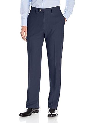 Haggar Men's Expandomatic Stretch Classic Fit Plain Front Dress Pant, Navy Heather, 36x30