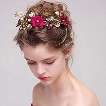 Littlefairy Tocado de Novia,Tocado de Novia Hecho a Mano Vestido de Novia Chino Diadema Flor roja de Adorno
