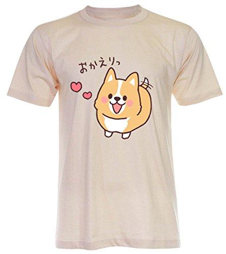 PALLAS Unisex's Corgi Lovely Cute Funny T-Shirt Light Beige