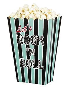 Boland BOL44855 - Cajas para Pop Corn Rock y Roll, 4 unidades, multicolor