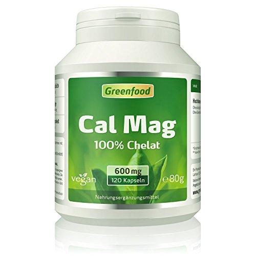 Greenfood Calcium + Magnesium, 100% AS-Chelat, höchste Bioverfügbarkeit. 120 Kapseln (60 Mg 120 Kapseln)