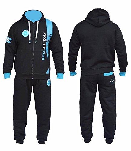 Tuta (felpa con cappuccio + pantaloni) da jogging in pile da uomo, colore nero e turchese, Camouflage Khaki, medium Nero/Blu