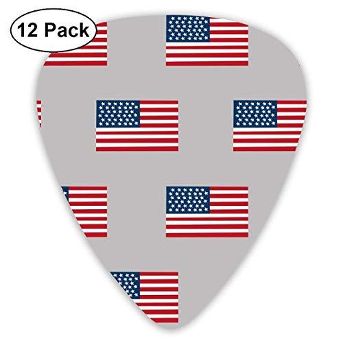 Amerikanische Flagge Flagge USA Merica Design Patriotisch 4. Juli Grey Classic Celluloid Picks, 12 Stück, für E-Gitarre, Akustikgitarre, Mandoline und Bass