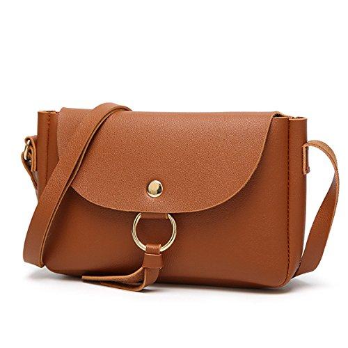 Frauen Arbeiten PU-Leder-Handtaschen-Schulter-Kurier Taschen Multicolor Brown