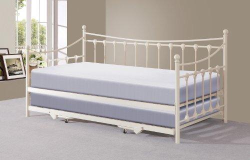Memphis 91,44 cm modessimple con cama de día - nido paperbaker o negro, metal, crema, 90 x 190 cm