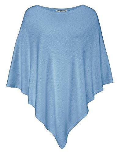 Cashmere Dreams Poncho-Schal aus Baumwolle - Hochwertiges Cape für Damen - XXL Umhängetuch und Tunika - Strick-Pullover - Sweatshirt - Stola für Sommer und Winter Zwillingsherz - blau