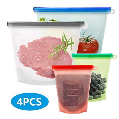 Homealexa Silikonbeutel Lebensmittel Beutel Wiederverwendbar Silikon Kochbeutel Küche Beutel Aufbewahrungsbeutel für Obst Gemüse Fleisch Snacks 4 Stück (2 * 1000ML+2 * 500ML)