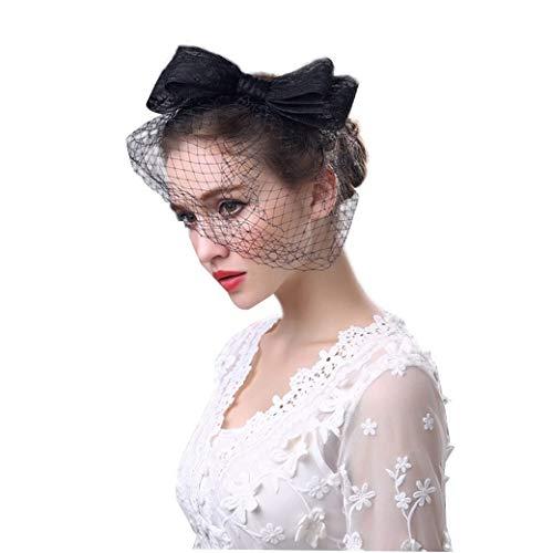 Braut Kopfschmuck, Bow Headwear Vintage Kopfschmuck handgefertigte britische Mode Damen Leinen Hut Blume Feder Mesh Schleier Hochzeit Tea Party