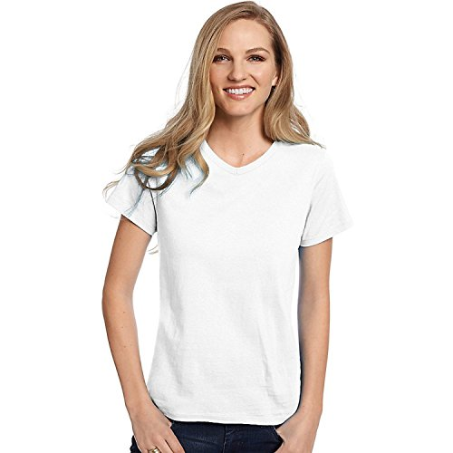 Hanes Relaxed Fit Women's ComfortSoft V-neck T-Shirt_White_S (White V-neck Hanes)