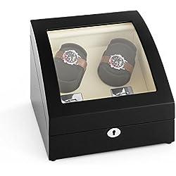Klarstein Matterhorn Uhrenbeweger Uhrendreher Uhrenbox (für 4 Automatikuhren, 4 Bewegungs-Modi, Schaumkissen, leise, abschließbar) schwarz