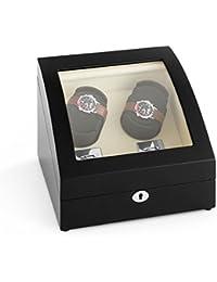 Klarstein Matterhorn caja para relojes (rotación en ambos sentidos, espacio para 4 relojes, tapa abovedada, hecho a mano) - negro