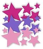 18 Stück selbstklebende Sterne Autoaufkleber, Mix-Set Pink, lavendel, rosa, Fensterdekoration Fensterbild / Fensteraufkleber, Wandtattoo Deko Sticker, Weihnachtsdekoration, Schaufenster In- und Outdoor 62s1, Kinderzimmer