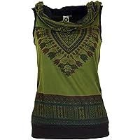 Guru-Shop, Hoods Dashiki Tank Top, Goa Festival Top, Olive, Cotton, Size:M/L (38/40), Tops & T-shirts