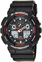 Casio Mens Quartz Watch, Analog-Digital Display and Plastic Strap GA100-1A4