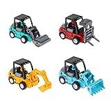 B Blesiya 4stk. Mini Auto Spielzeugauto Automodell Auto Spielfigur mit Bagger Gabelstapler Gabelstapler, und Roller Stil
