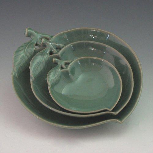Set 3 Plats Porcelaine Céladon Goryeo Vert FORME PECHE