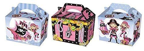 12 X rosa Piraten-Design, Party-Lebensmittelboxen, Brotdose (Piraten-lunch-box)