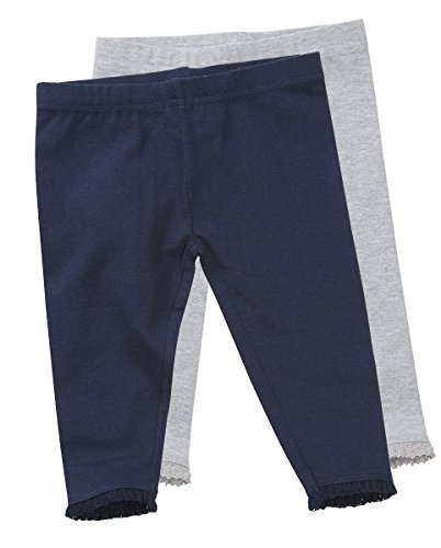 Baby Girls Infant Toddler 2 Pack Soft Leggings Jeggings Trouser Pants With Frill (12-18 MONTHS, NAVY/GREY 12C0537)