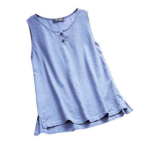 Damen Tops Ärmellos Lang Bluse Sommer Große Größe Tank Tops Lose Oberteil Tanktop Blusentop Weste Bluelucon Cord-flare Jeans