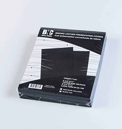 BNC Leder Bindung Präsentation deckt 100Stück, schwarz Farbe, Buchstabe Größe -