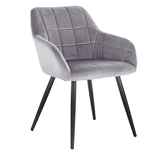 woltu bh93gr-1 poltroncina camera da letto in velluto grigio, sedia sala da pranzo con braccioli gambe in metallo