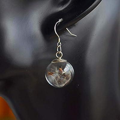Une Paire Pissenlit Graine Faire Un Souhait Vraie Fleur Verre Boule Argent Sterling 925 Boucles d'oreilles pendantes et gouttes