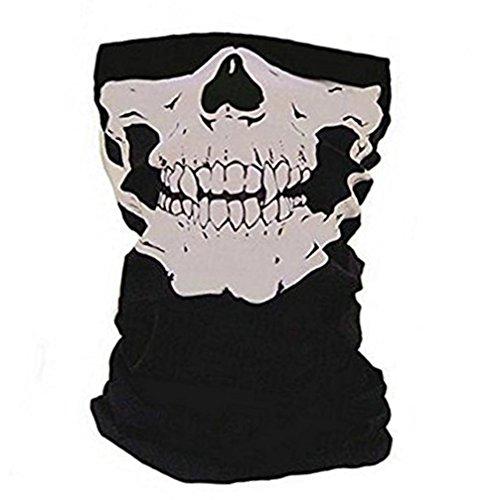 Hosaire Winddicht Dehnbar Totenkopf-Maske Nackenwärmer Schal Ski mit Kopfbedeckungen Stahlrohr Half Face Cover Magic Stirnband Schleier für Motor Radfahren Reiten Klettern Snowboard,Schwarz
