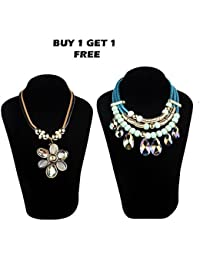 Stripes Presents Golden Colour Statement Necklace For Women/Girls (Buy 1 Get 1 Free Offer)