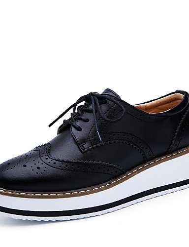 ZQ hug Scarpe Donna-Stringate-Tempo libero / Formale / Casual-Plateau-Piatto-Pelle-Nero / Borgogna , black-us8.5 / eu39 / uk6.5 / cn40 , black-us8.5 / eu39 / uk6.5 / cn40 black-us7.5 / eu38 / uk5.5 / cn38