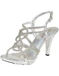 Sandalias Para mujer, diseño brillantes, Tacón Alto