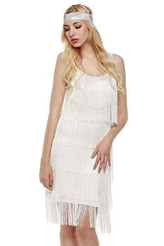 Murieo Damen Straps Kleid- Quasten Glam Party Kleid Gatsby Fringe Flapper Kostüm Kleid Mini Kleid Fringe Kleid