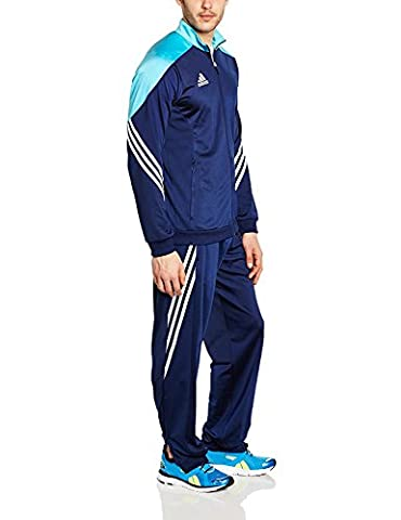 adidas Fußball bekleidung Sere14 Präsentations Trainingsanzug, dunkel blau/super cyan s12/weiß,