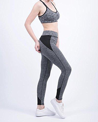 Donna Pantaloni da Yoga Alta Vita Allenamento Leggings Yoga Fitness Palestra Pantaloni Mescolare i colori pantacollant Nero
