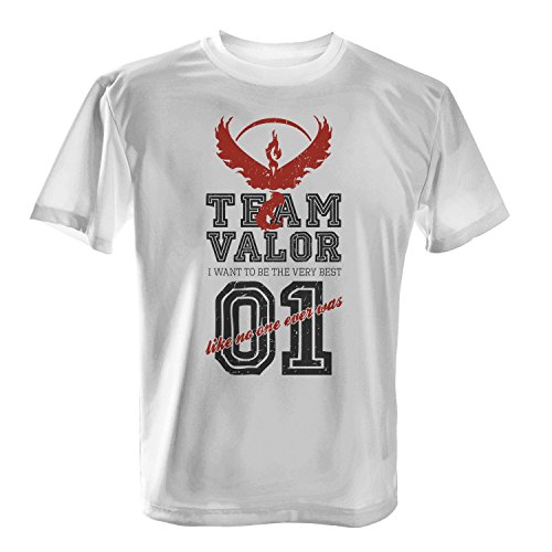 Fashionalarm Herren T-Shirt - Team Valor I Want To Be The Very Best   Fan Shirt Team Red Rot Poke Go Game, (Ash Kostüm Männer Ketchum Für)