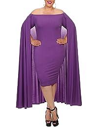 Vestido De Noche Fiesta Vintage Para Mujer Delgados Señora Del Color Sólido Elegante Vestido Ajustado Morado